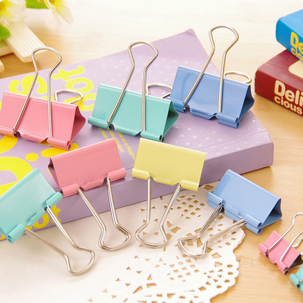 10pcs Colorful Metal Binder Clips Paper Clip 15mm Office
