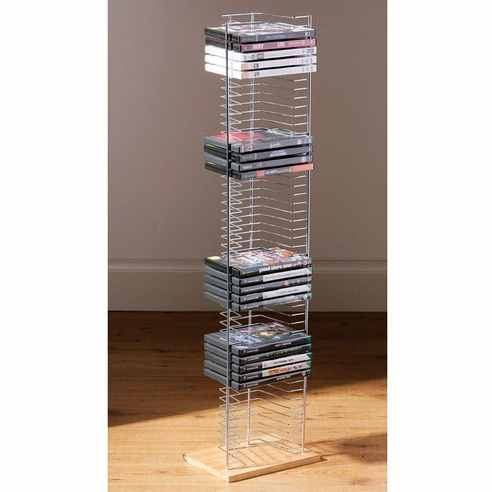 50 DVD HOLDER STORAGE TOWER RACK CHROME WOOD BASE FREE STANDING UNIT | eBay