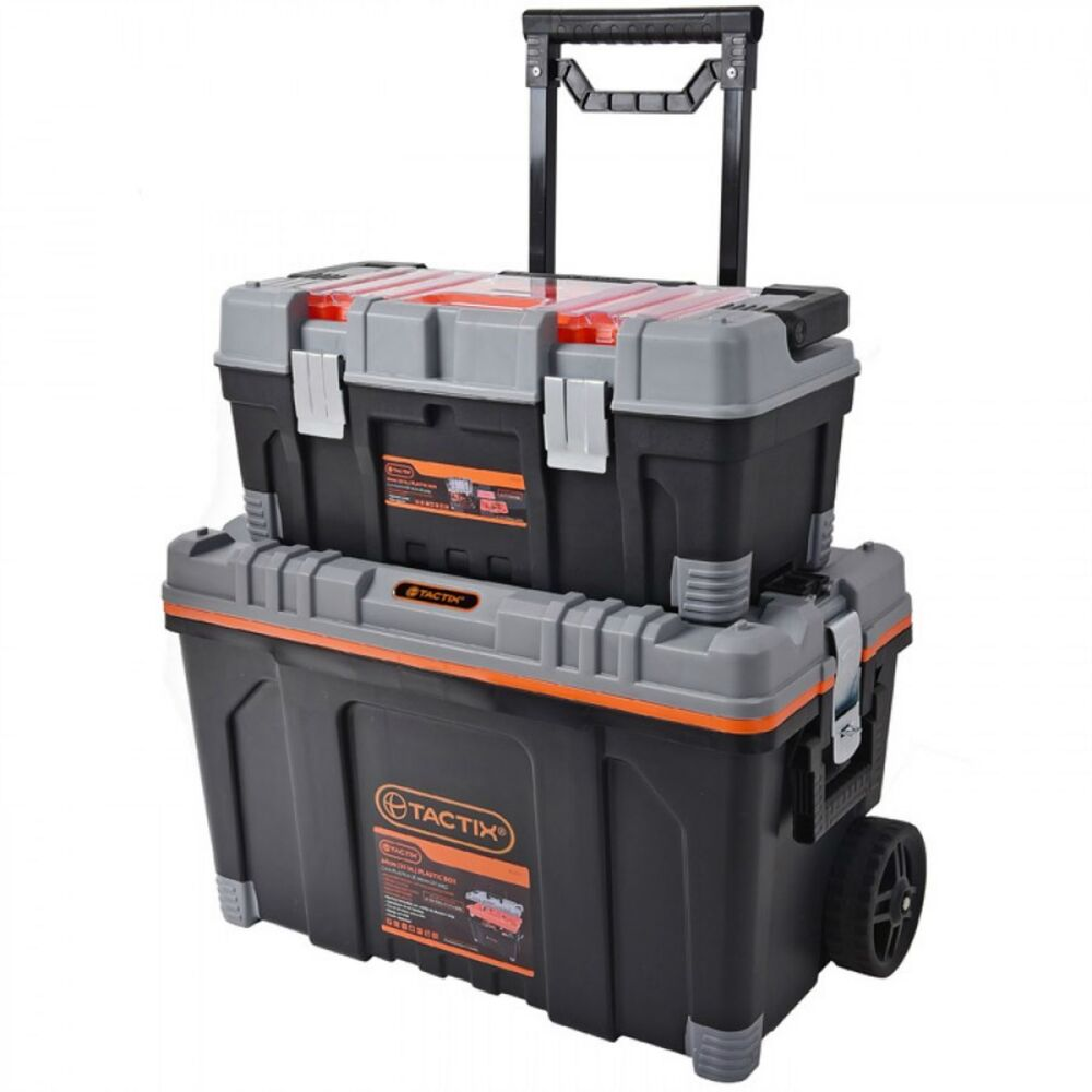 tactix 2 in 1 rolling large heavy duty mobile tool storage box chest on wheels 6942629226352 ebay. Black Bedroom Furniture Sets. Home Design Ideas