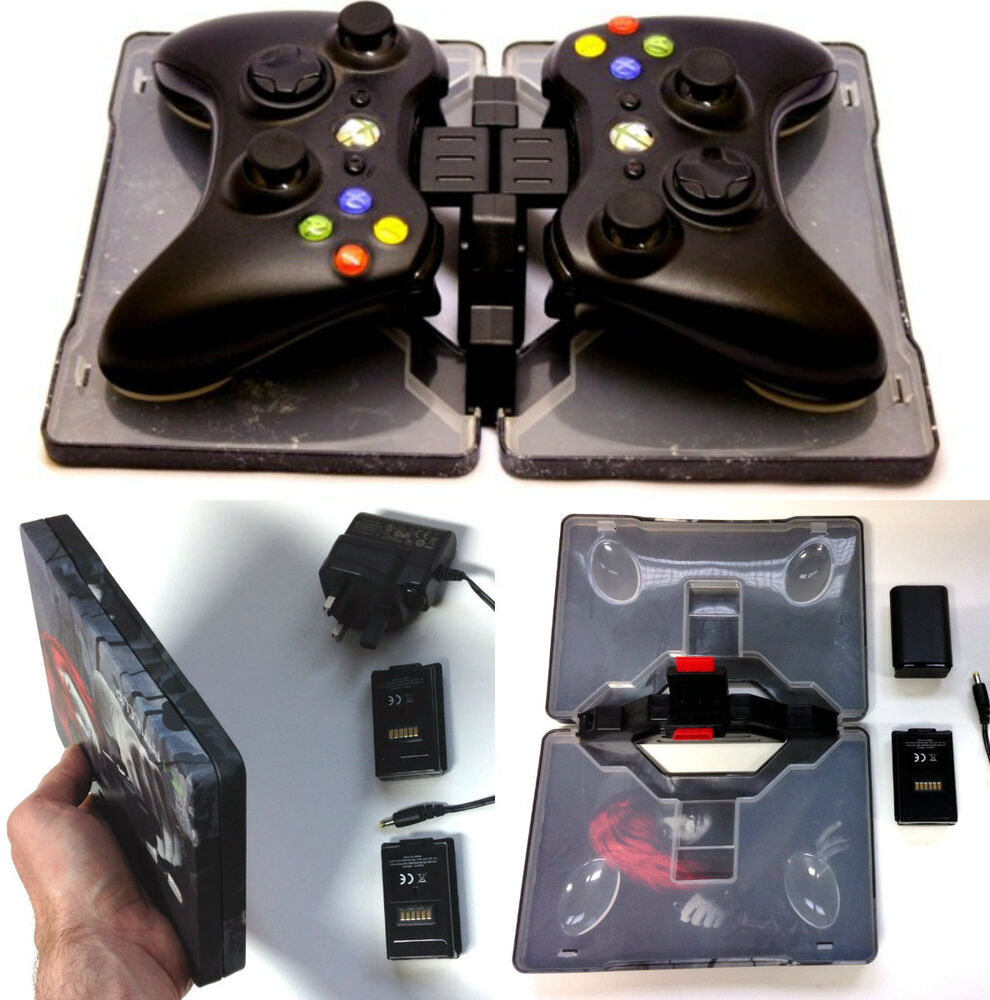 charger dock cradle 2 rechargeable batteries for xbox 360 wireless controller ebay. Black Bedroom Furniture Sets. Home Design Ideas