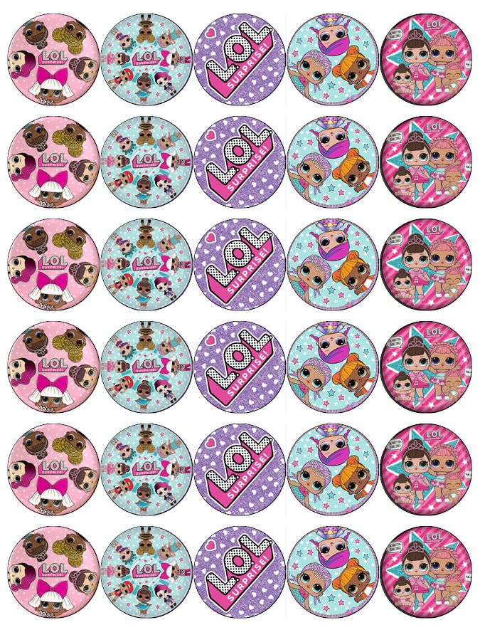30 x Lol Surprise Dolls Cupcake Toppers Edible Wafer Paper ...