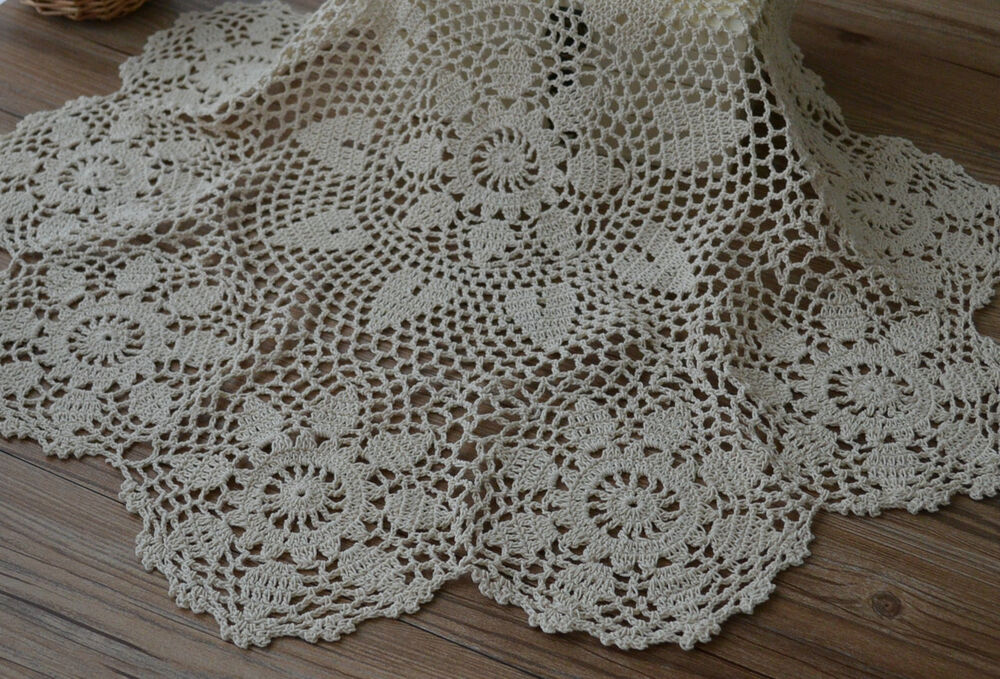 Quot round hand crochet ecru doily floral table cloth