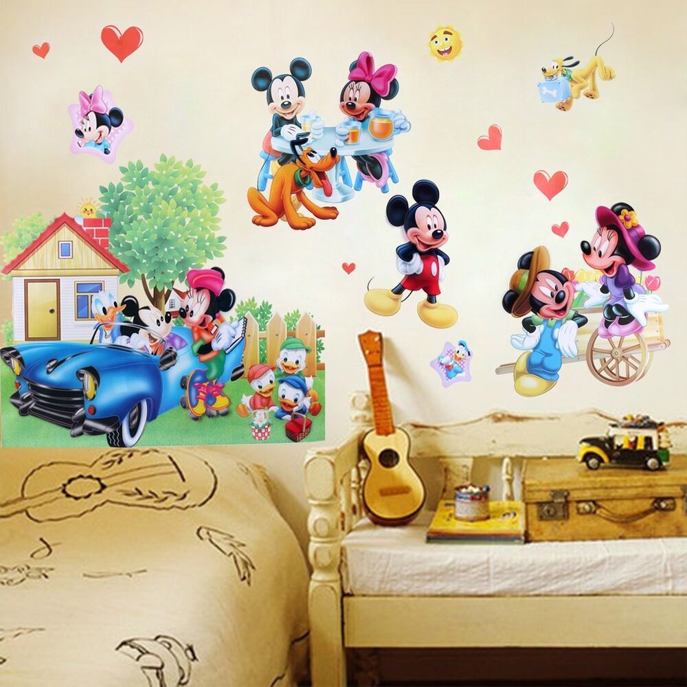 Mickey minnie mouse cute wall sticker pvc vinyl art decals for Baby mural stickers