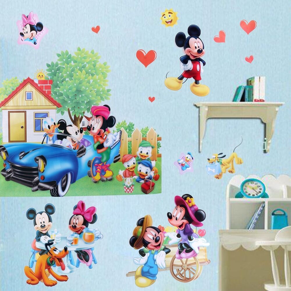 mickey minnie mouse 3d removable wall sticker vinyl art decals kids room decor ebay. Black Bedroom Furniture Sets. Home Design Ideas