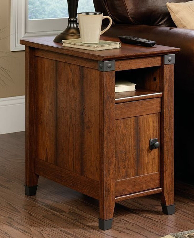 Storage End Tables For Living Room: End Table Wood Living Room Furniture Drawer Magazine