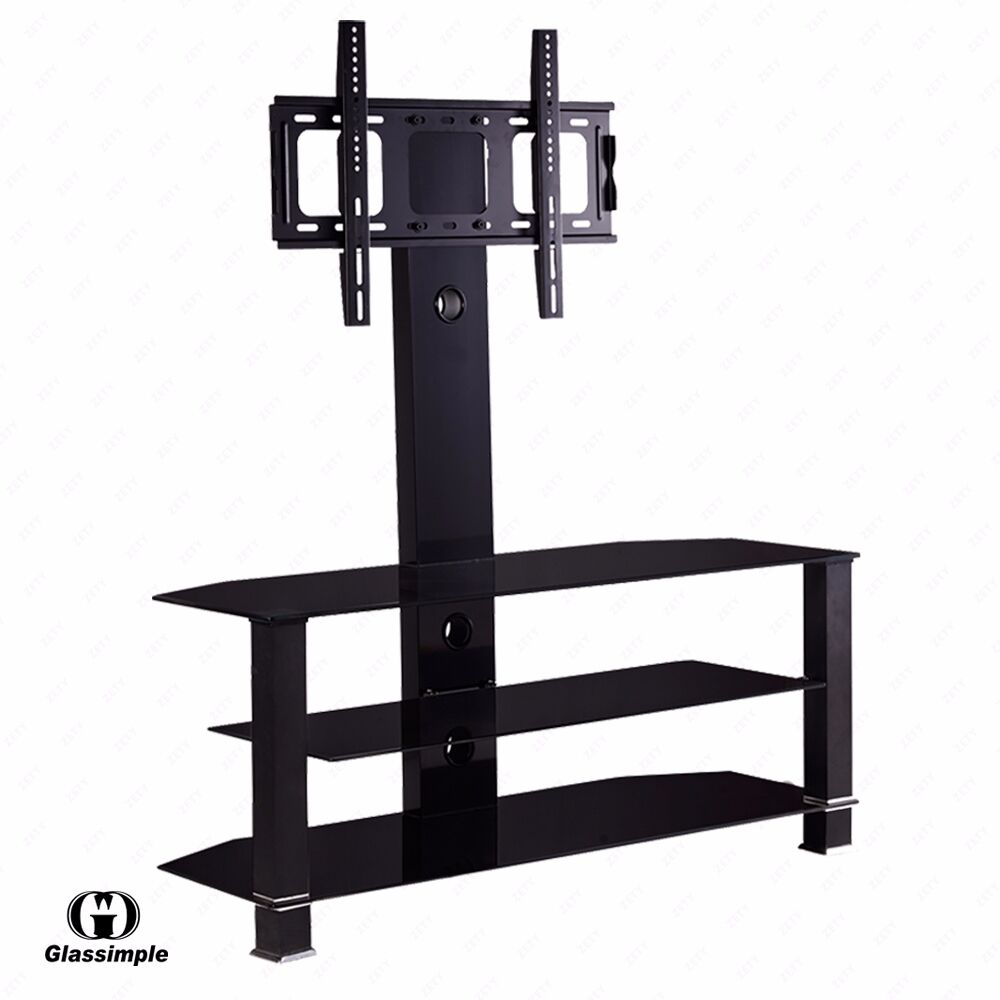 Black Cantilever Tempered Glass Tv Stand W Bracket For 32