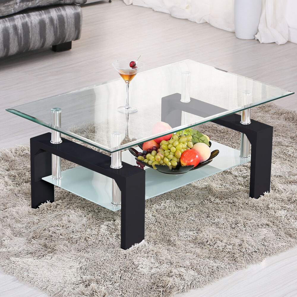Modern rectangular black glass coffee table chrome shelf for Glass living room furniture