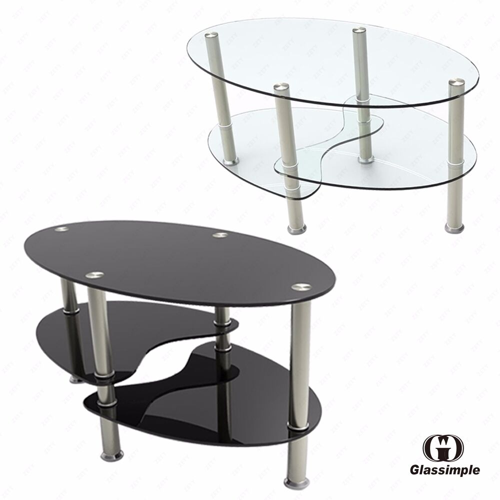 Black clear glass oval side coffee table shelf chrome base for Glass living room furniture