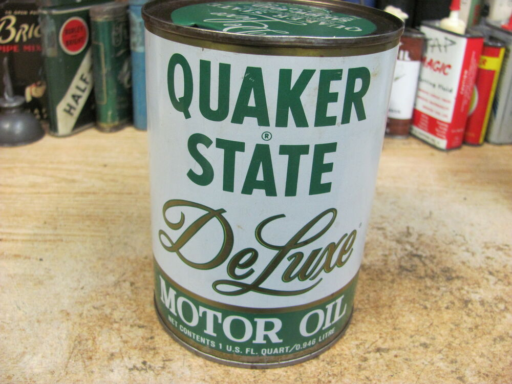Quaker state de luxe motor oil 1 quart can tin metal gas for Quaker state motor oil history