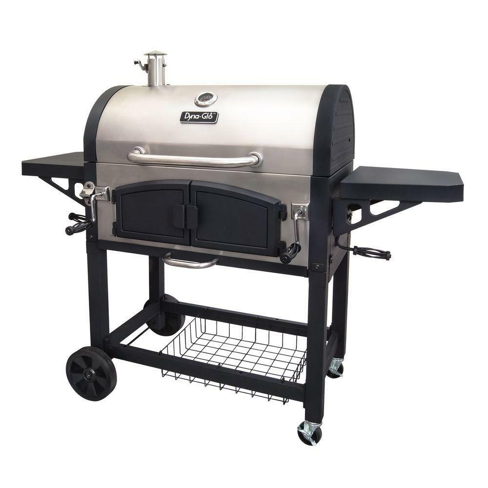 Dyna glo charcoal grill dual zone premium stainless steel smoke stack ebay - Barbecue stainless steel grill ...