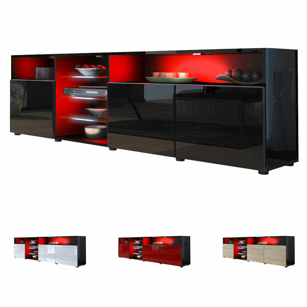 black high gloss modern tv stand unit media entertainment center granada v2 ebay. Black Bedroom Furniture Sets. Home Design Ideas