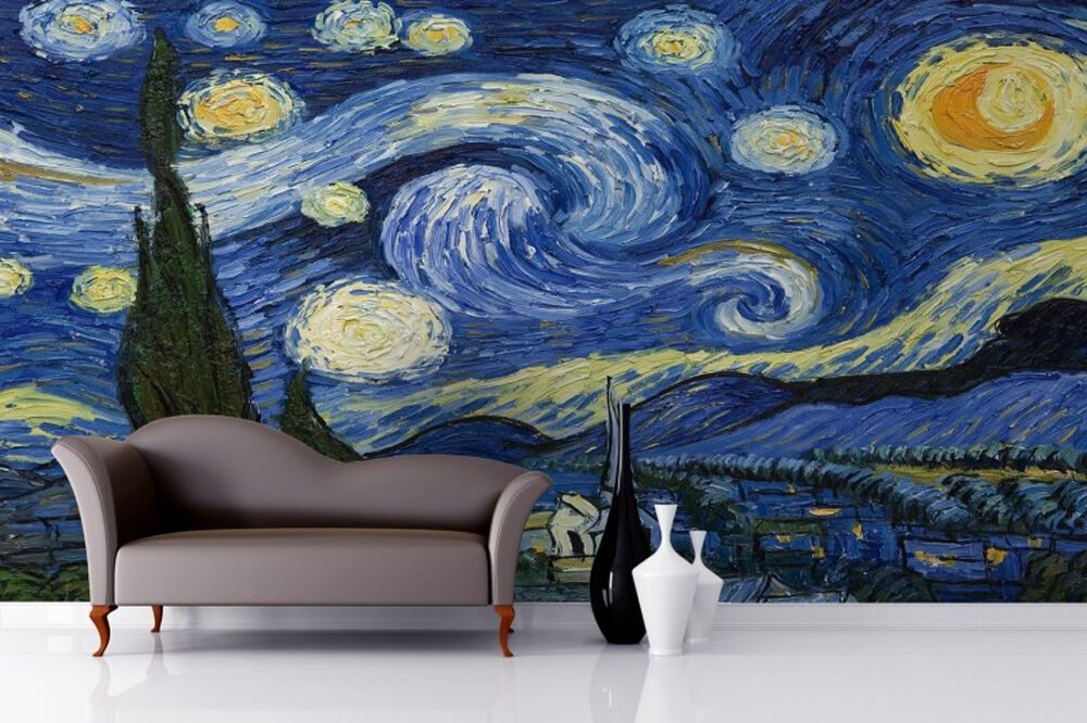 3d wallpaper rolls starry night by van gogh livingroom for 3d mural wallpaper for bedroom