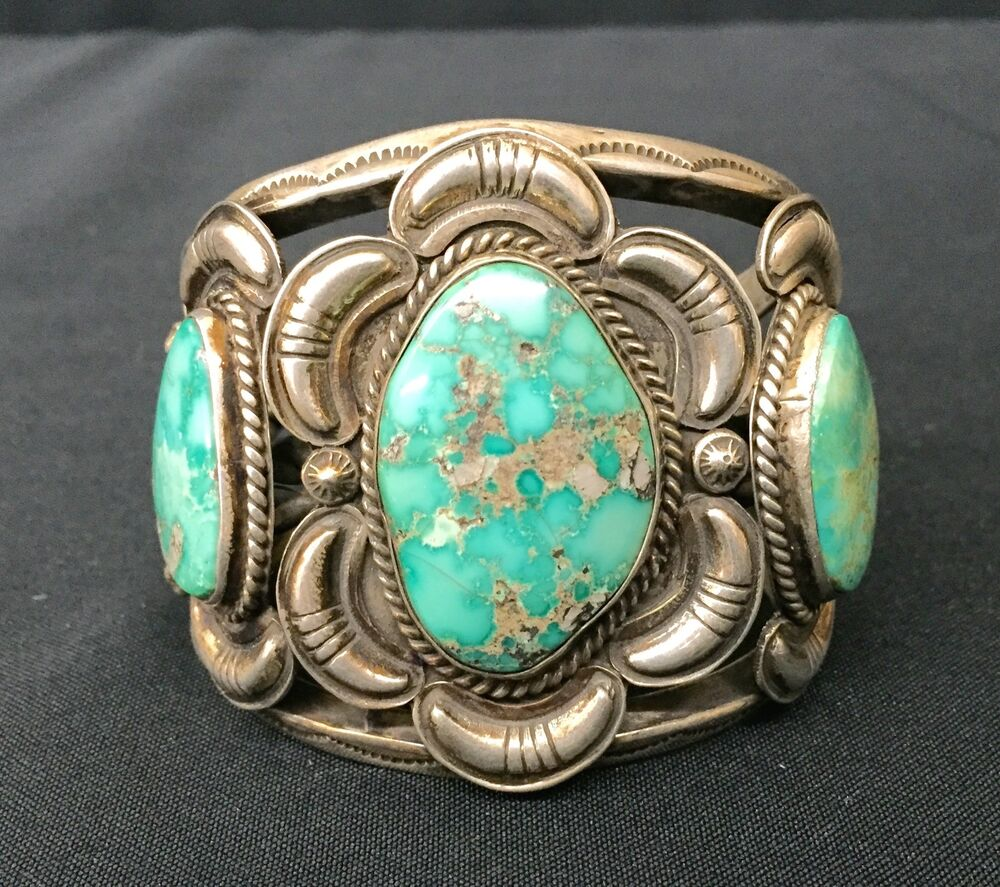 Cuff Bracelet Native American Indian Dead Pawn Sterling Amp Turquoise Ebay