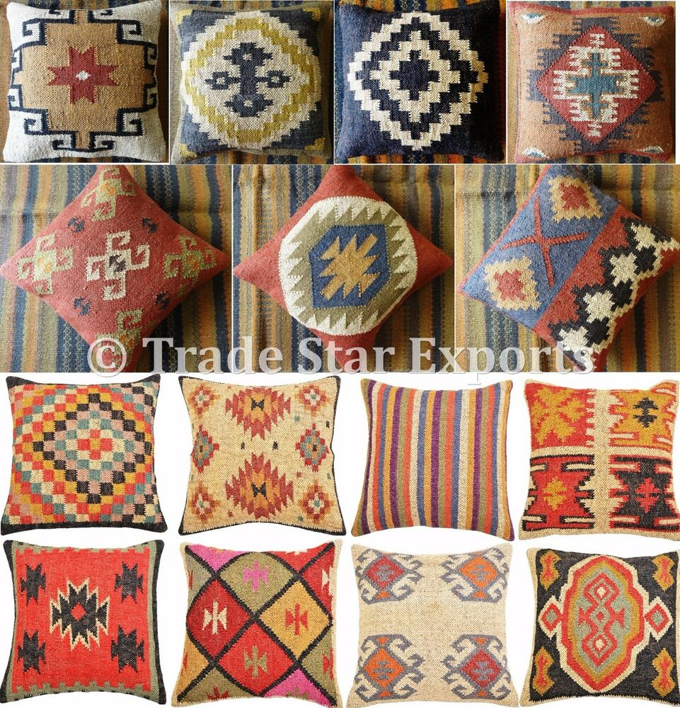 Wholesale Lot Set Of 5 Kilim Cushion Cover 18x18 Jute