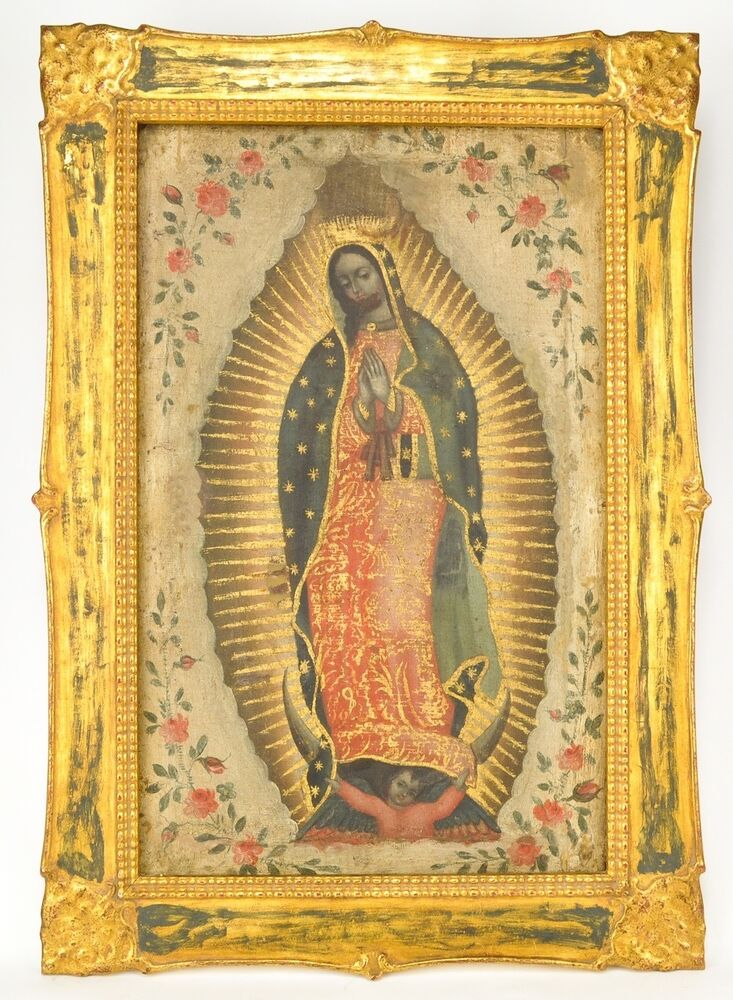 """Antique Spanish Bungalow House Plans: Antique Spanish Colonial Santos Painting """"Our Lady Of"""