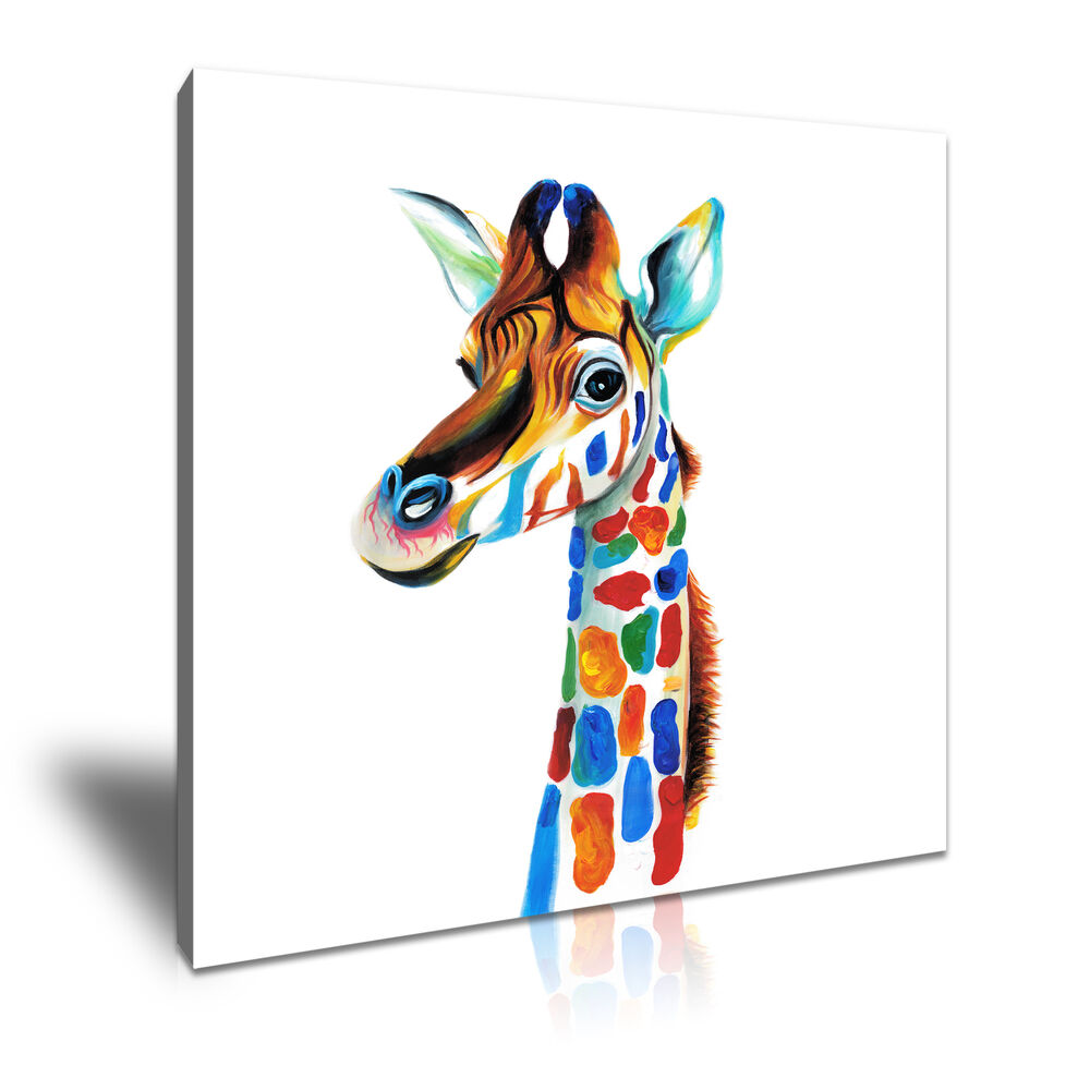 pop art giraff canvas animal framed art kids room deco more size ebay. Black Bedroom Furniture Sets. Home Design Ideas