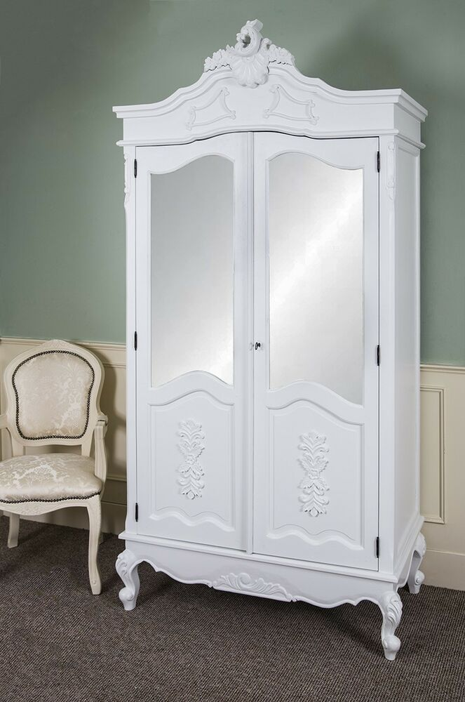 french double wardrobe white hand carved mirrored armoire antique shabby chic ebay. Black Bedroom Furniture Sets. Home Design Ideas