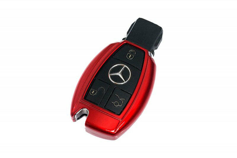 Mercedes benz red remote key cover case skin shell cap fob for Remote starter for mercedes benz