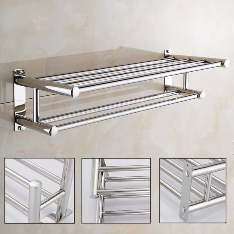 Stainless Steel Double Towel Rack Wall Mount Bathroom Shelf Bar Rail Hotel Style Ebay