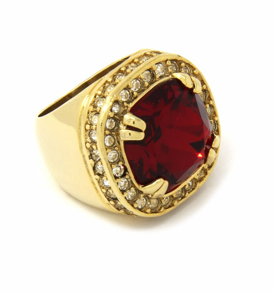mens ruby earrings mens 14k gold plated hip hop iced ruby cz ring size 8736