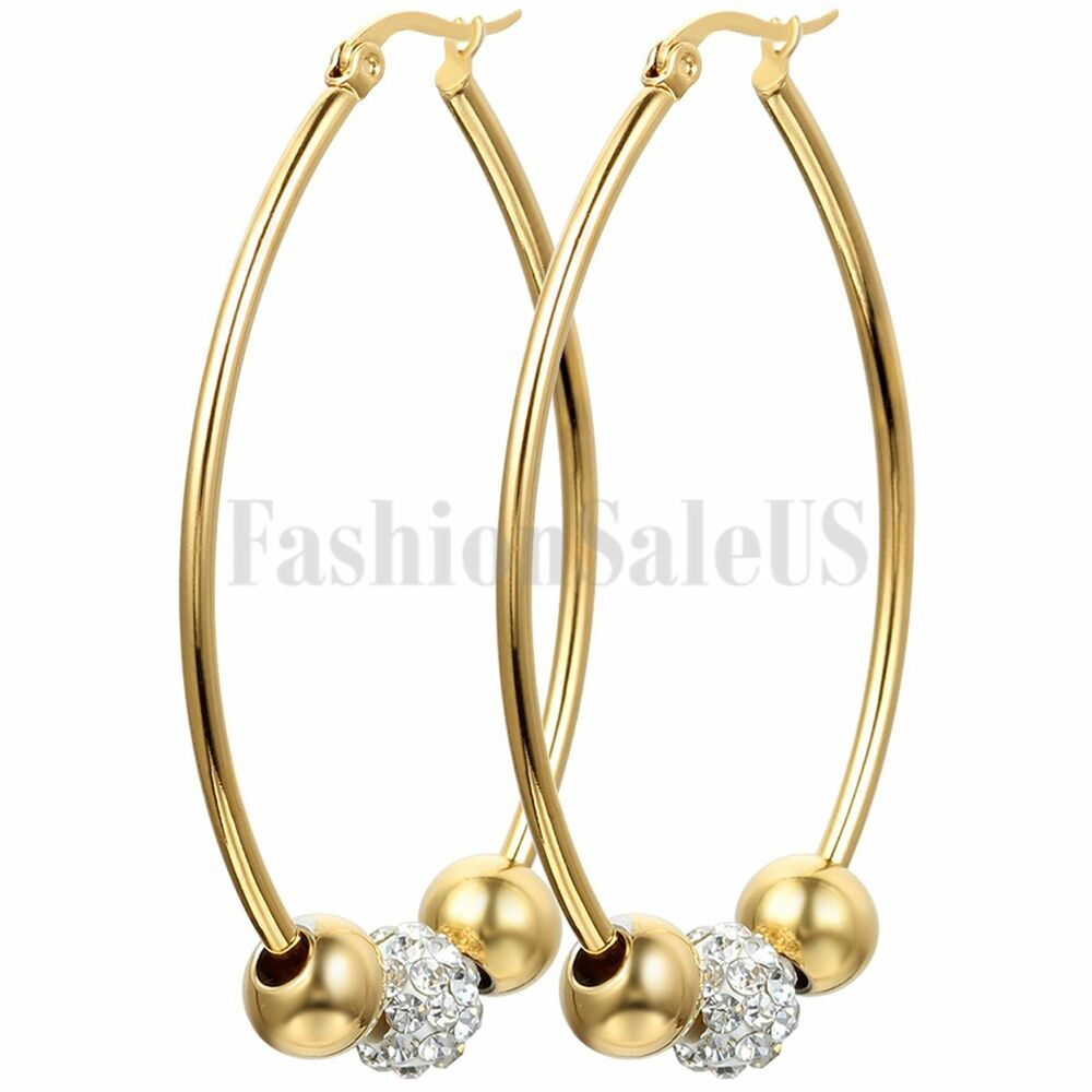 Fashion Beaded Rhinestone Gold Tone Stainless Steel Big ...