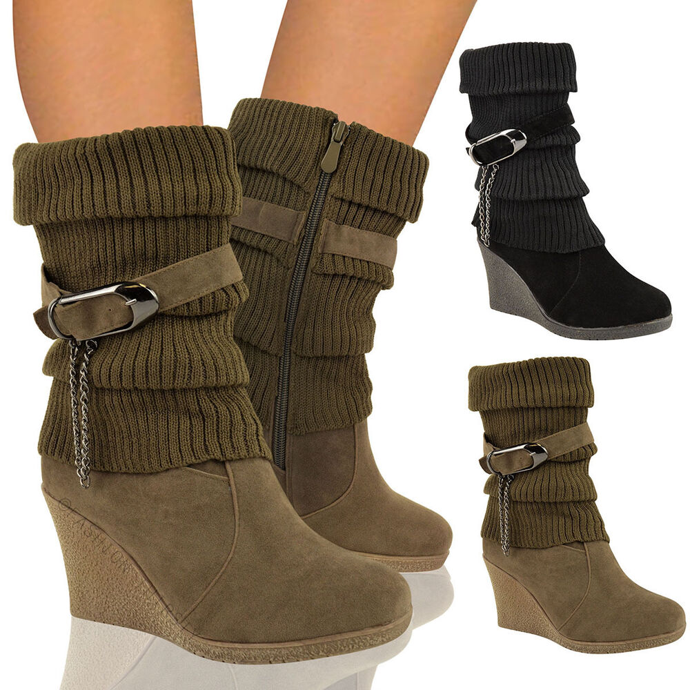 Ladies Ankle Boots Mid High Wedge Heel Winter Sock Biker Knee Calf ...