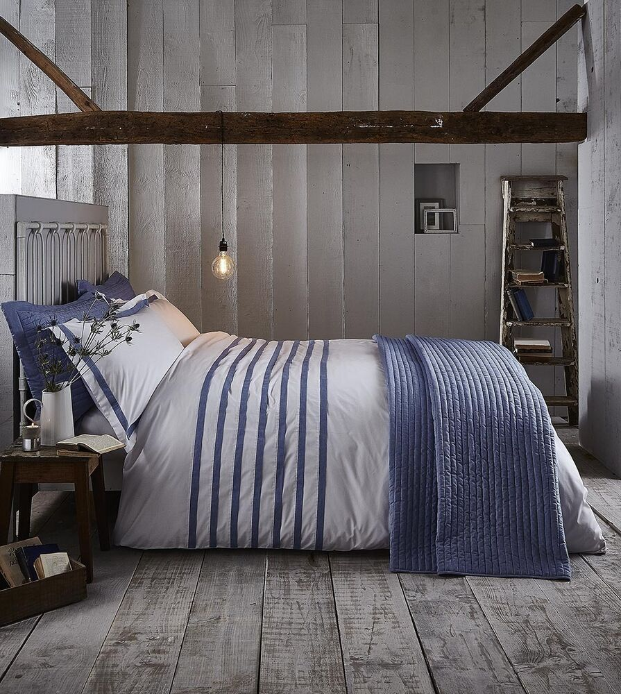 Blue & White Stripe CHAMBRAY PLEATS Nautical Bedding Range