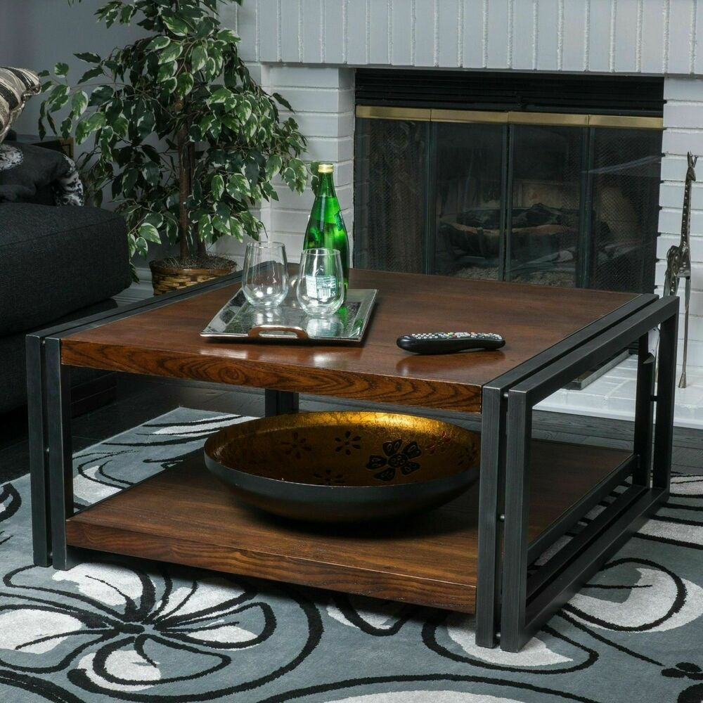 Phebe Modern Oak Timber Coffee Table Square Timber Top: Contemporary Dark Oak Wood Coffee Table