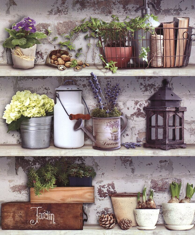 Brick Around Shed With Mulch And Flowers: Muriva Potting Shed Wallpaper 102565