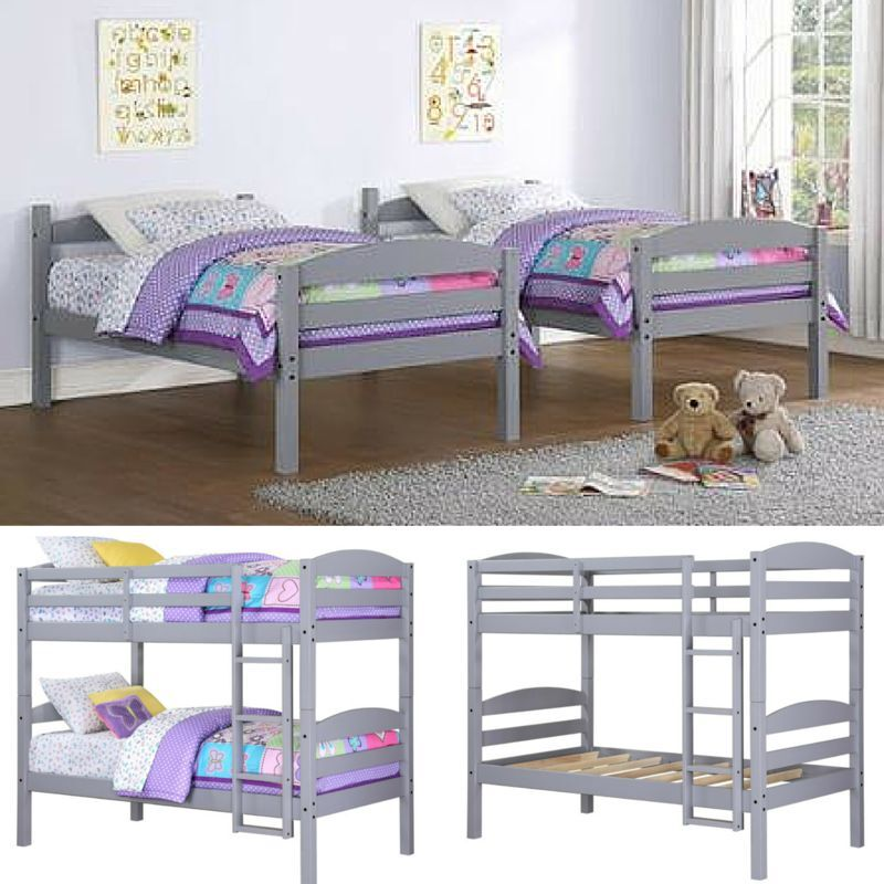 Twin Bunk Beds Kids Bedroom Furniture Wood Grey Ladder Loft Convertible Bunk