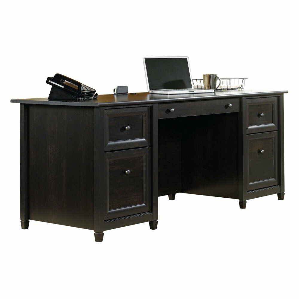 Sauder Edge Water Executive Desk Estate Black Ebay