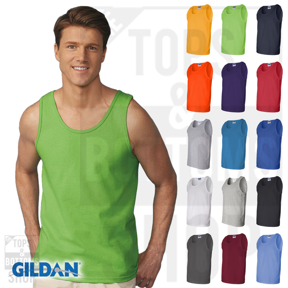 Gildan mens ultra cotton tank top workout fitness shirt Fitness shirts for men