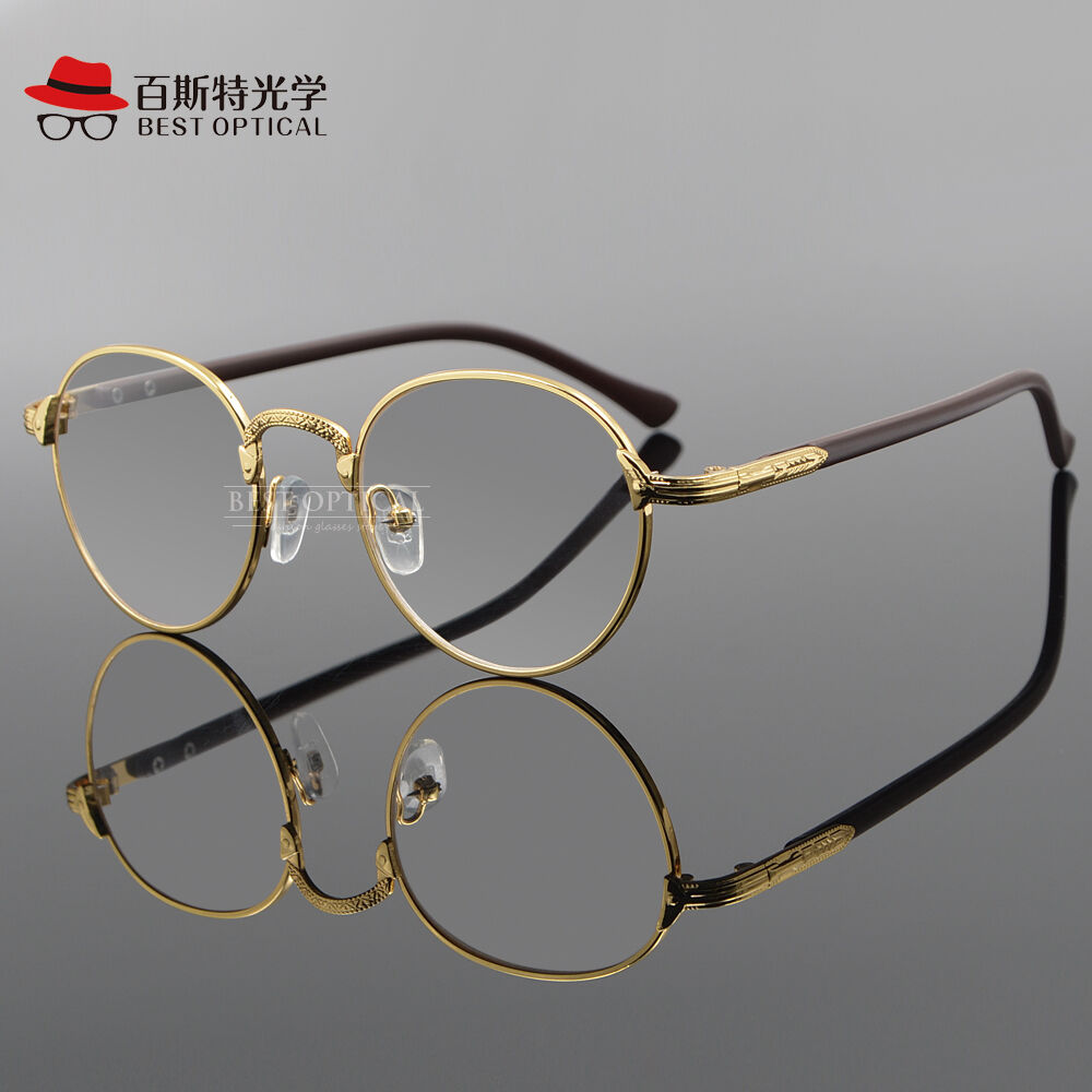 Eyeglass Frames Oval : Vintage Oval Gold Eyeglass Frame Man Women Plain Glass ...