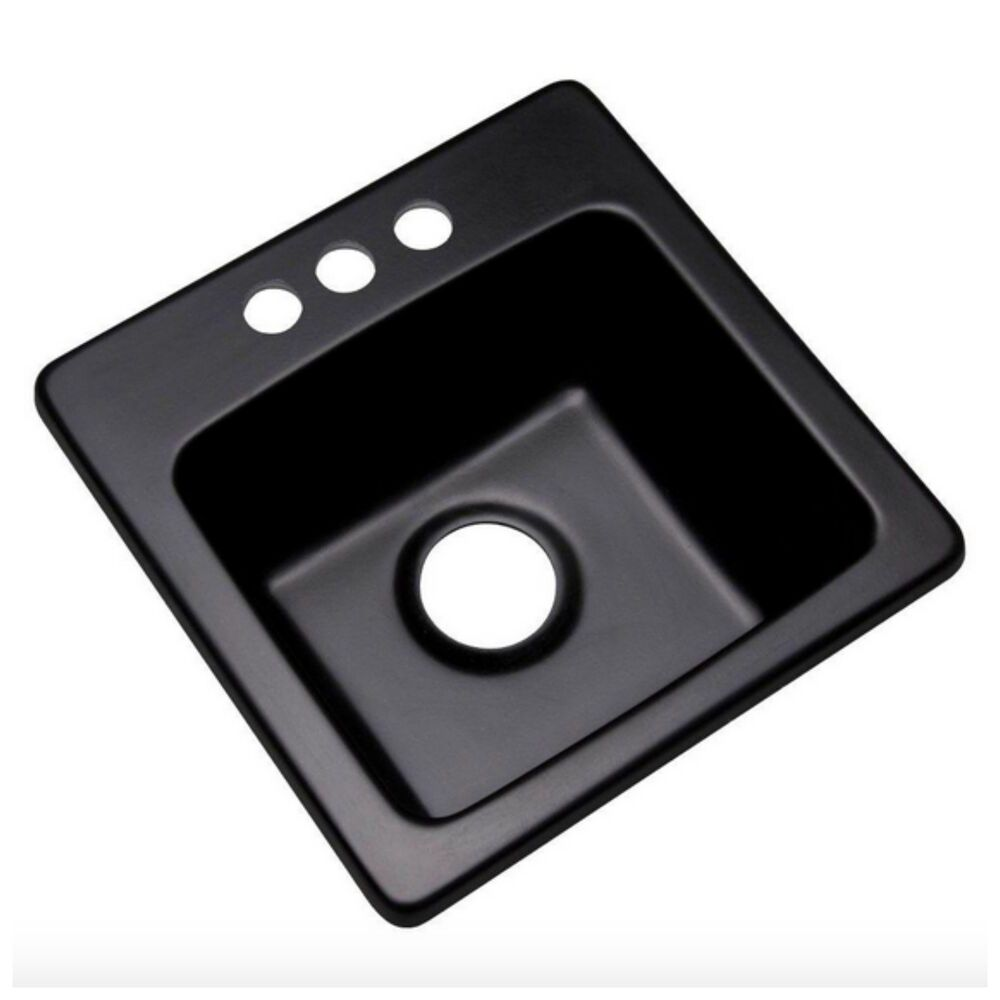 Black Single Bowl Drop In Kitchen Sink With  Holes