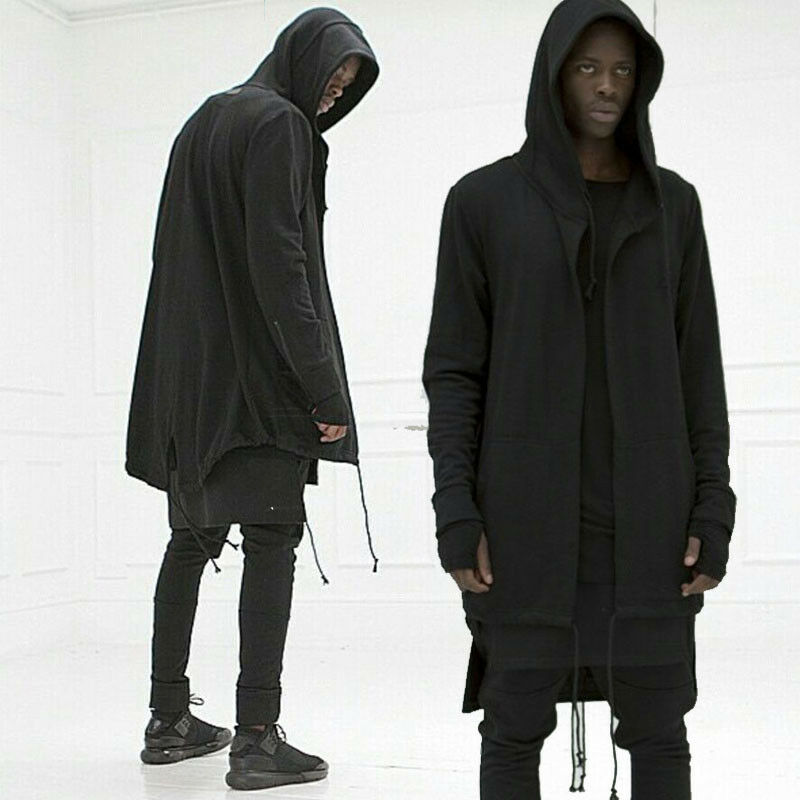 Fashion Men Hooded Jacket Long Cardigan Black Ninja Goth