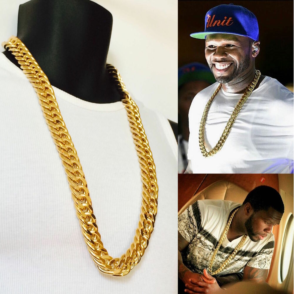 Men Heavy Xxl 18mm 14k Gold Finish Miami Cuban Link Chain