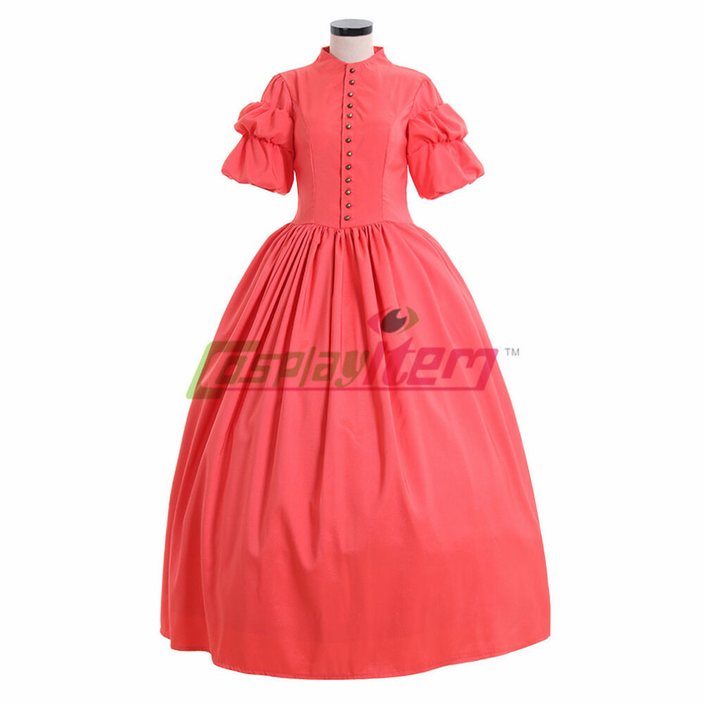 1860s Red Gothic Victorian Civil War Ball Gown Southern Belle Dress Costume Ebay