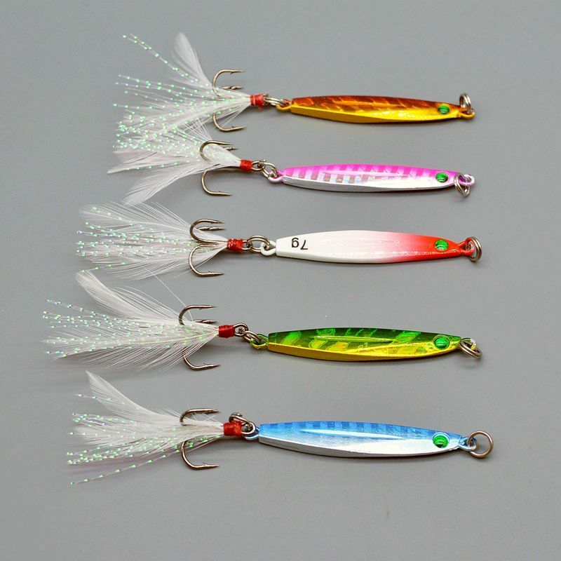 New 5pcs lot laser jigs bait metal fishing lures feather for Fishing with jigs