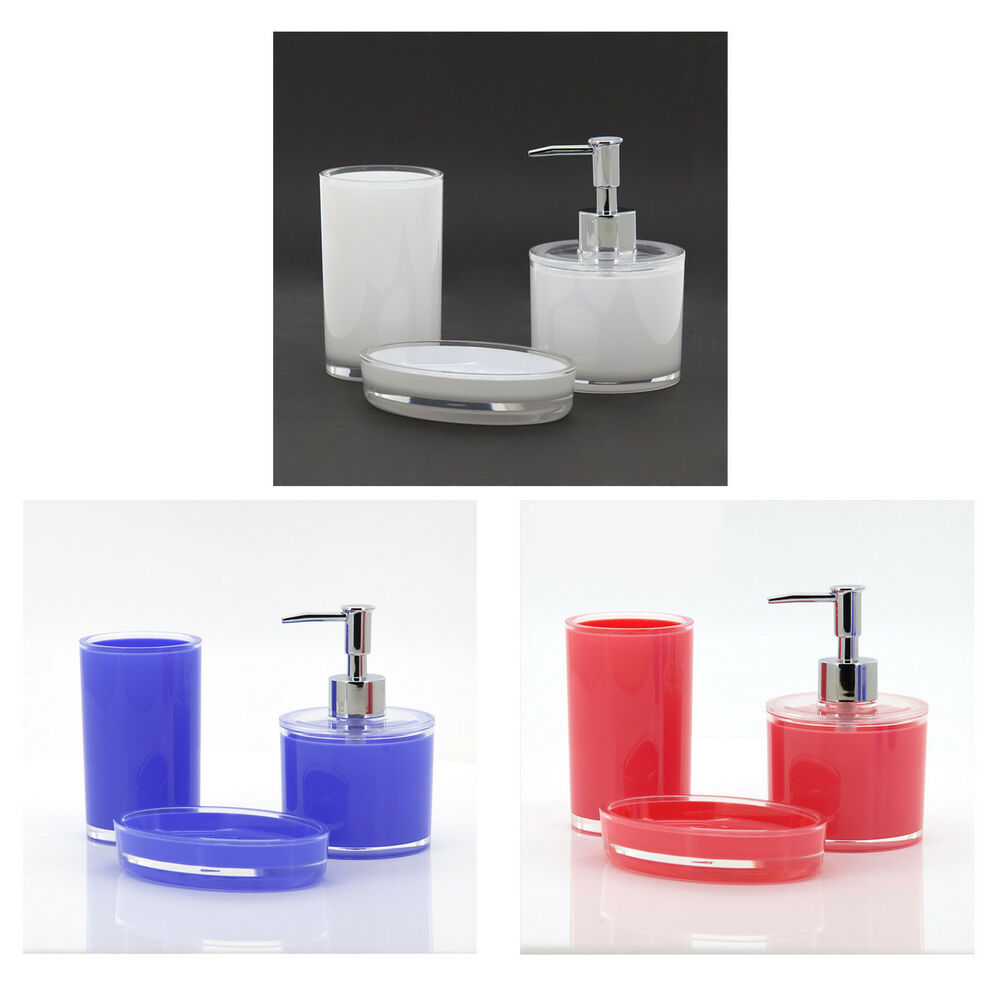 3pcs bathroom accessory sets soap dish rinse cup soap dispenser red white blue ebay - Bathroom soap dish sets ...