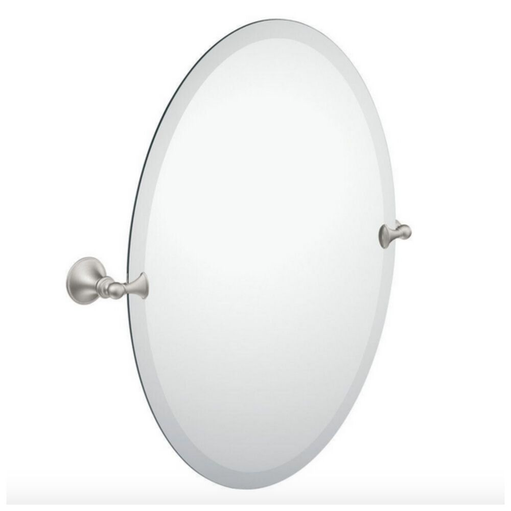 Moen Bathroom Mirror Frameless Oval Wall Vanity Mount Tilting Brushed Nickel Ebay