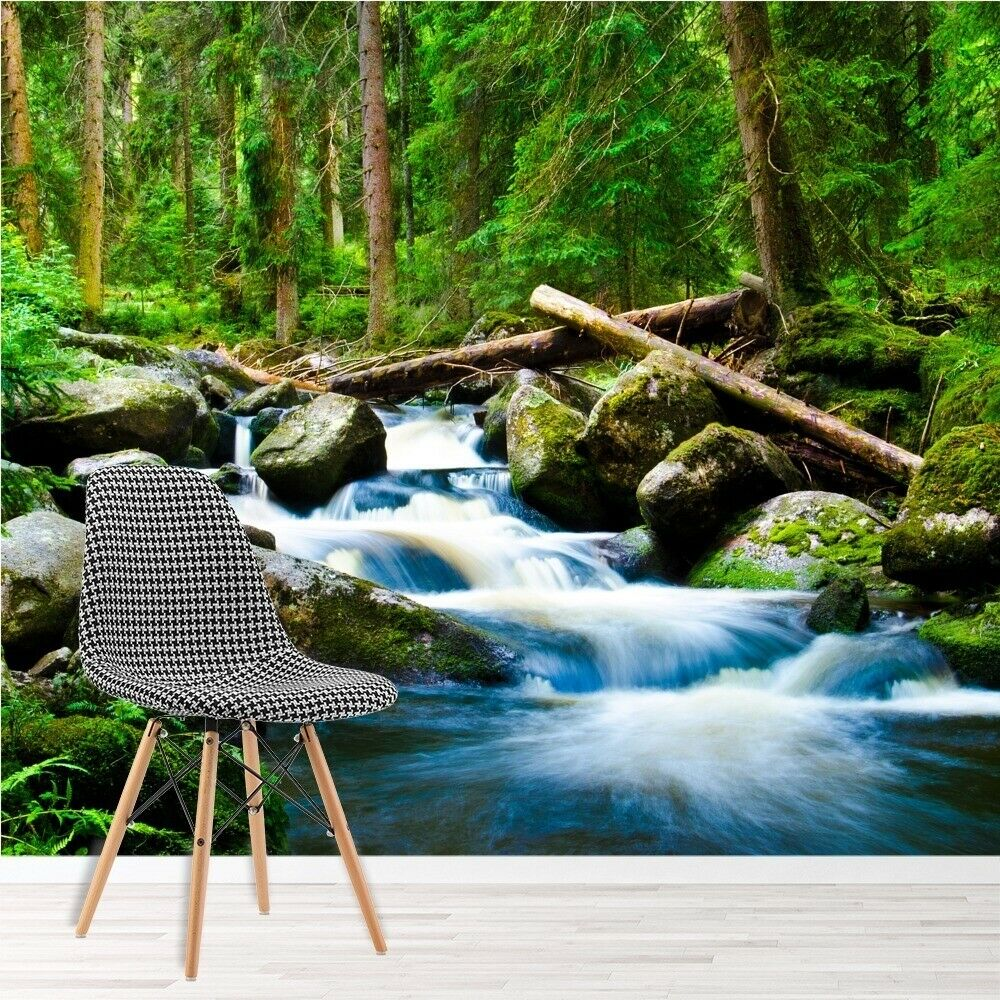 Waterfall in mountain forest river landscape wall mural for Mural nature