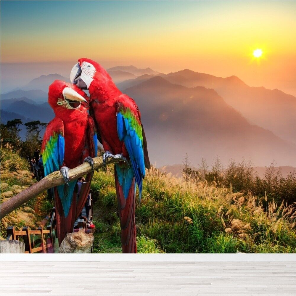 Red blue macaw parrots jungle birds wall mural nature for Bird mural wallpaper