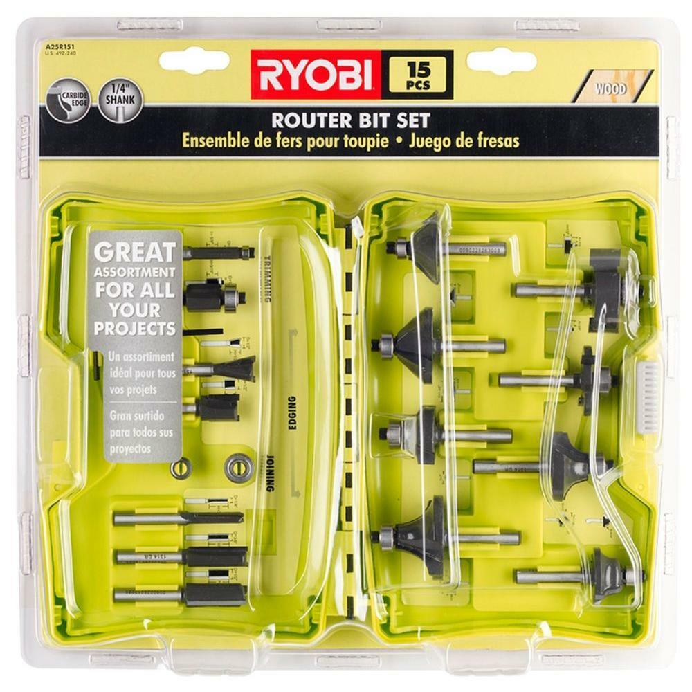 ryobi a25r151 router bit set 15 piece brand new ebay. Black Bedroom Furniture Sets. Home Design Ideas