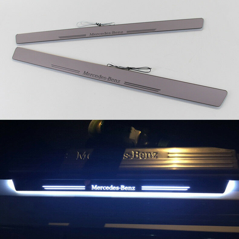 Led light door sill scuff plate guard for 2010 2014 for Mercedes benz door sill