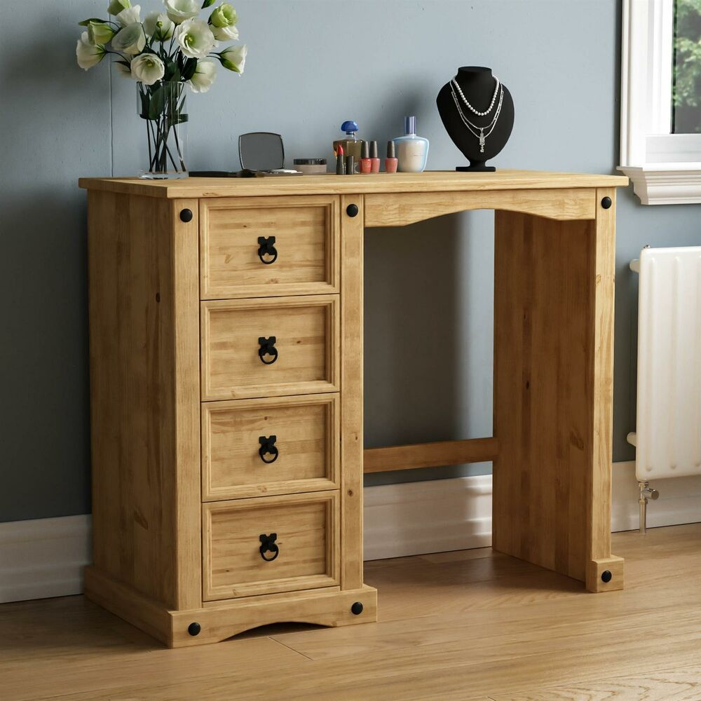 Corona 4 Drawer Dressing Table Desk Solid Mexican Waxed