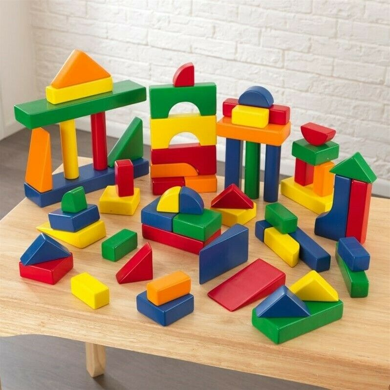 KidKraft 60 Piece Wooden Block Set in Primary Colors Transitional