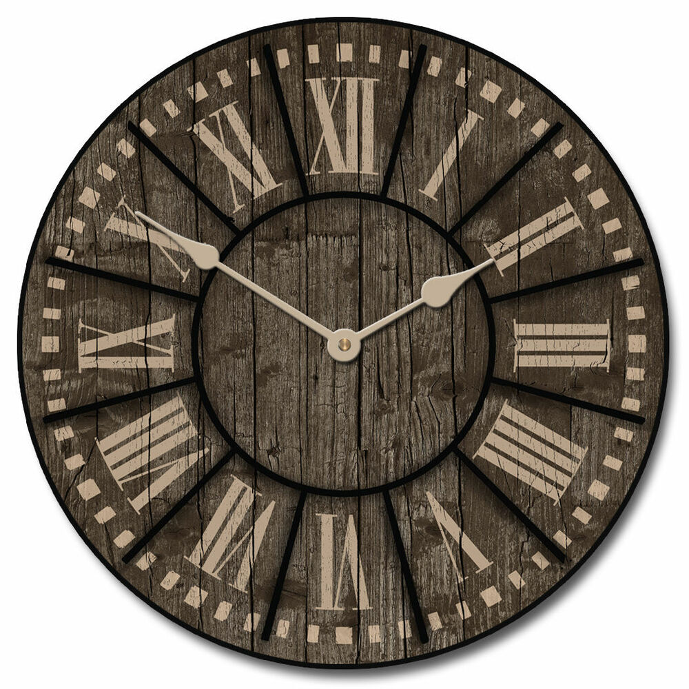 large wall santa fe clock 10 48 whisper quiet non ticking ebay. Black Bedroom Furniture Sets. Home Design Ideas