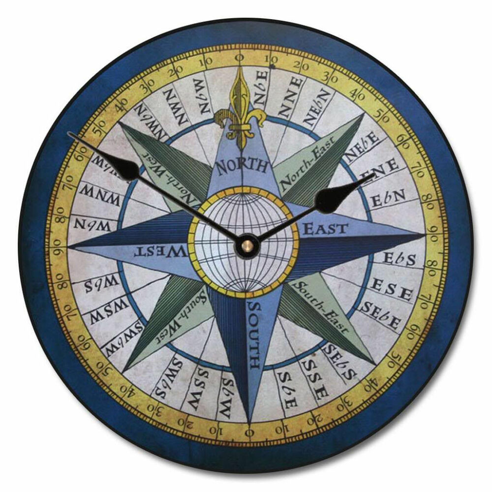 compass large wall clock 10 48 whisper quiet non ticking wood handmade ebay. Black Bedroom Furniture Sets. Home Design Ideas