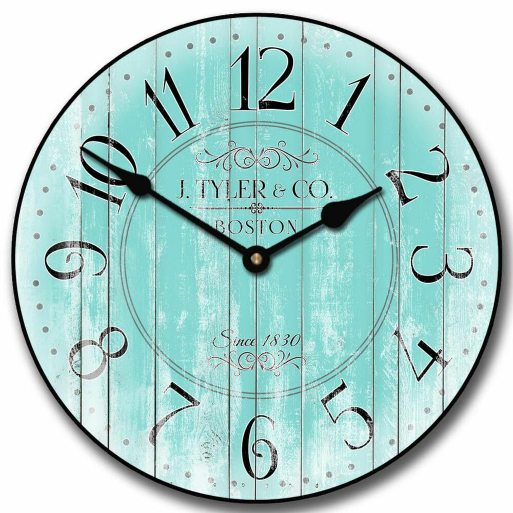 harbor turquoise large wall clock 10 48 whisper quiet non ticking wood handma ebay. Black Bedroom Furniture Sets. Home Design Ideas