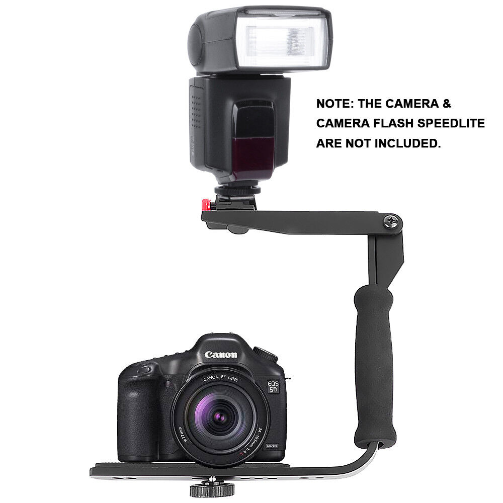 Photography Flash Brackets: Quick-Flip Rotating Flash Bracket Grip Flash Arm Holder